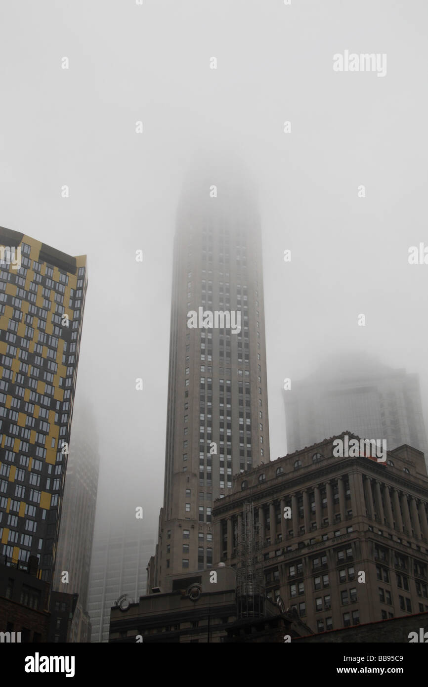Low clouds over the financial district of New York, spring 2009. - Stock Image
