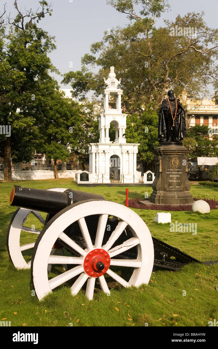 The statue to the Marquess of Ripon in the grounds of the Corporation of Chennai offices in the Ripon Building in - Stock Image
