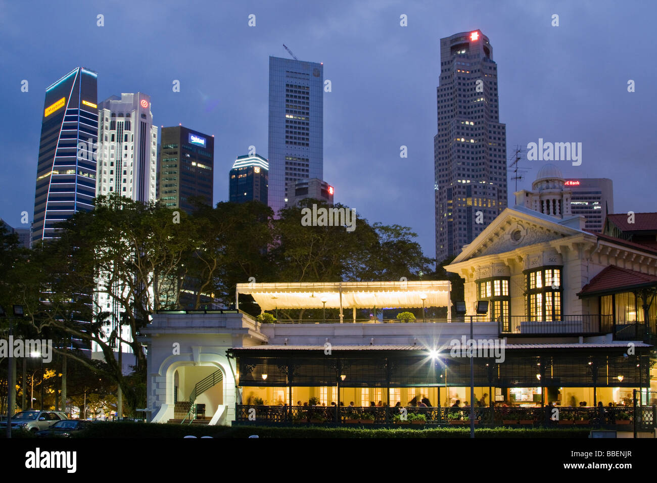 Skyline of Singapore, Singapur,  South East Asia twilight Stock Photo