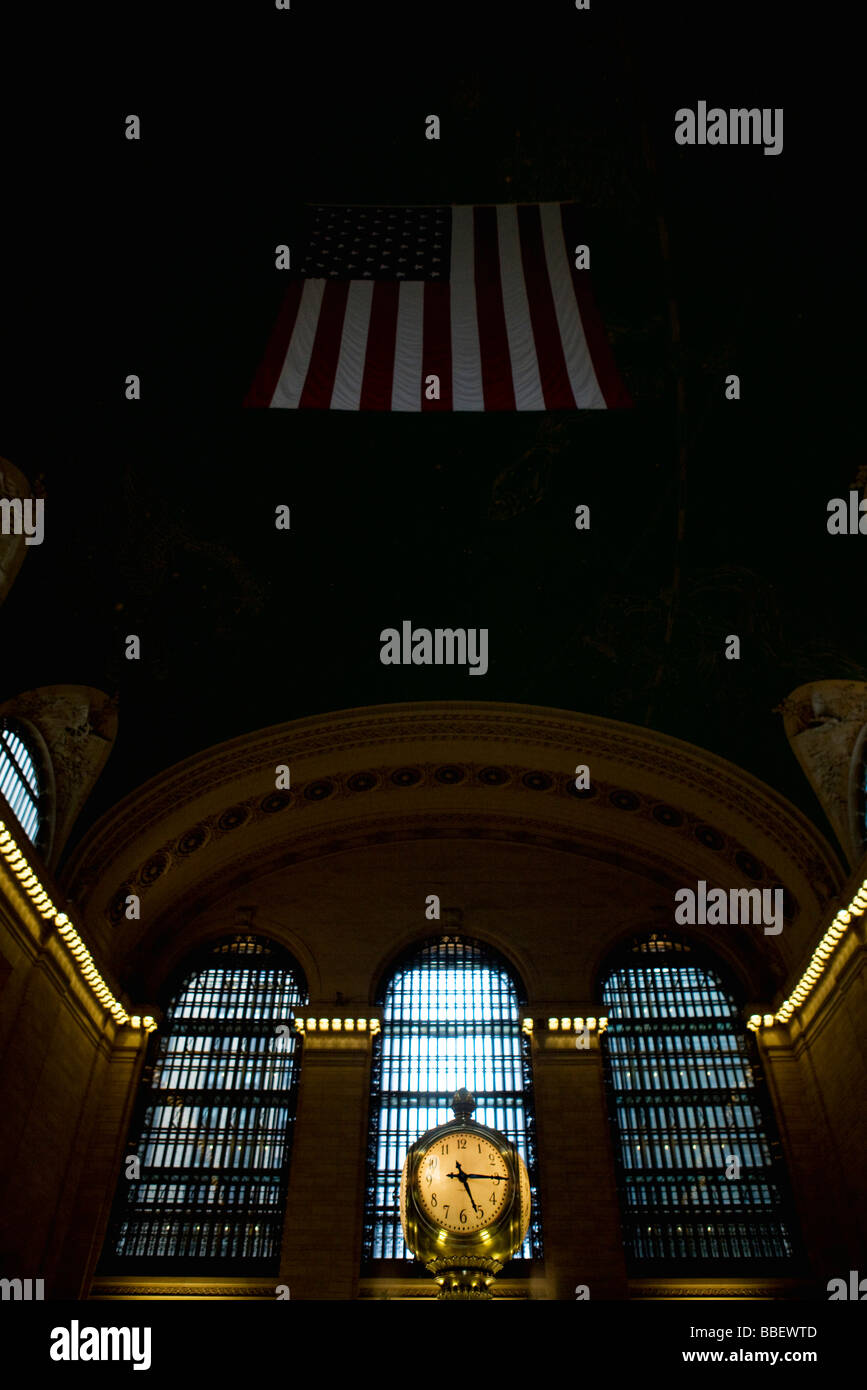 Clock inside of Grand Central Station, New York City - Stock Image