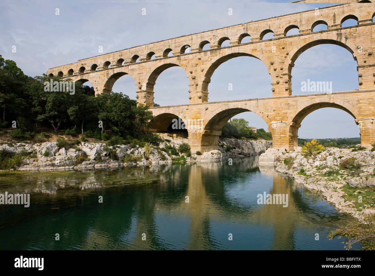 Pont du gard over the gardon - Stock Image
