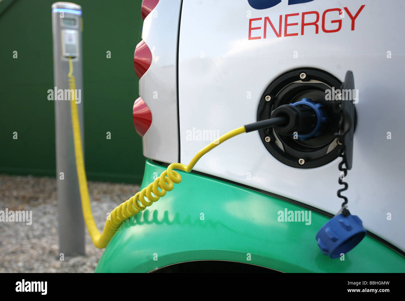 Electric car being charged - Stock Image