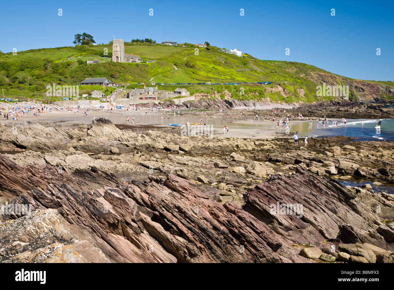 Rocky Coastline at Wembury Devon England UK Stock Photo