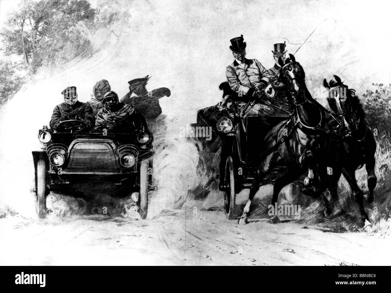 transport / transportation, coach, race between one horse-drawn coach and a car, 'Hostile Powers', drawing - Stock Image