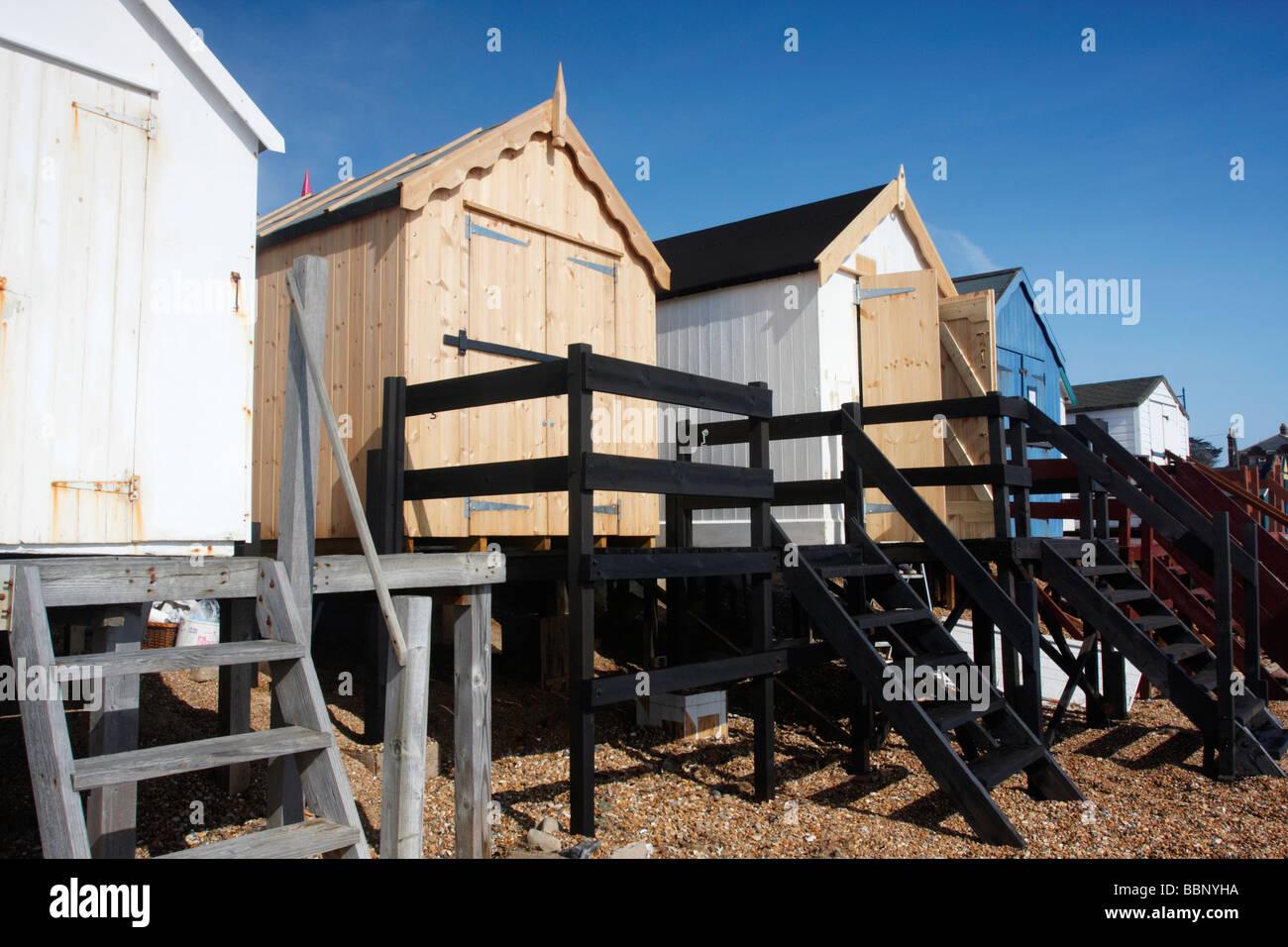 Beach huts at Felixstowe on the Suffolk Coast - Stock Image