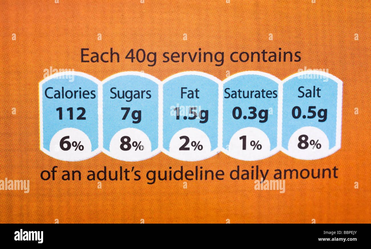 Food label showing nutrition information UK - Stock Image