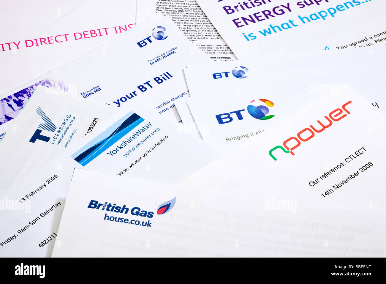 Group of domestic paper household heating energy and utility bills UKStock Photo