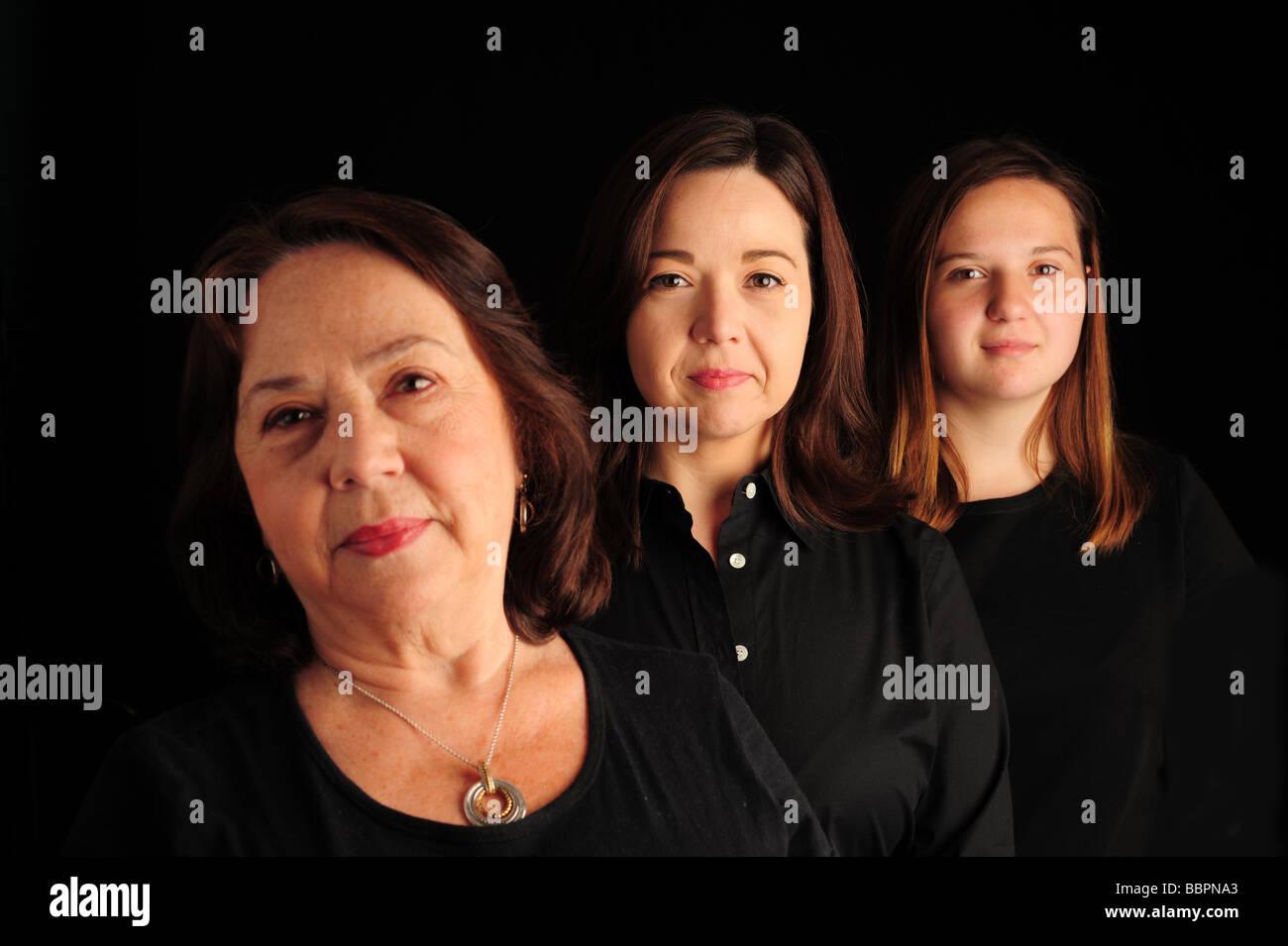 Three 3 generations of hispanic women Stock Photo