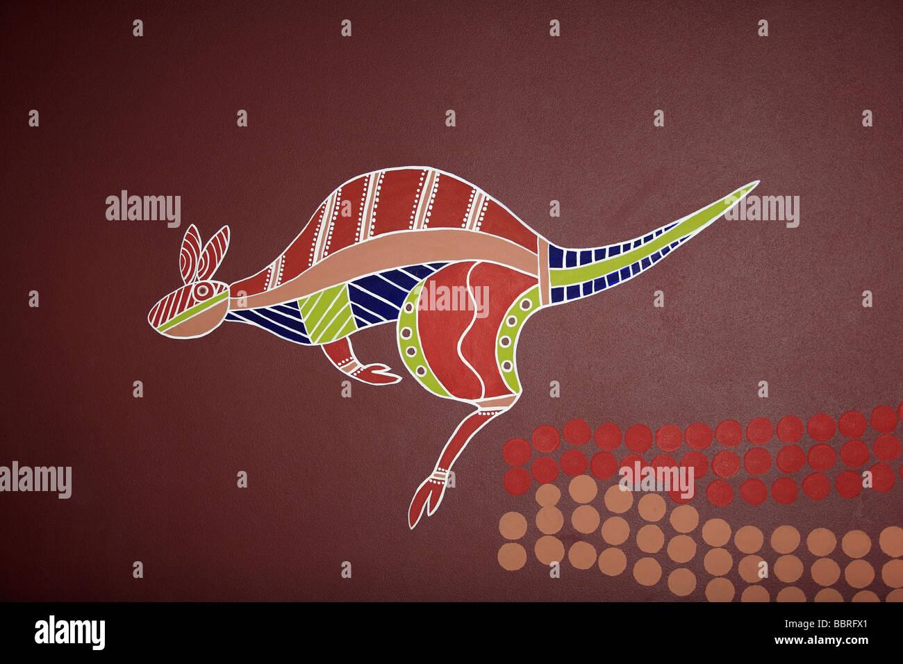 aboriginal-style-artwork-of-a-kangaroo-painted-on-a-wall-BBRFX1.jpg