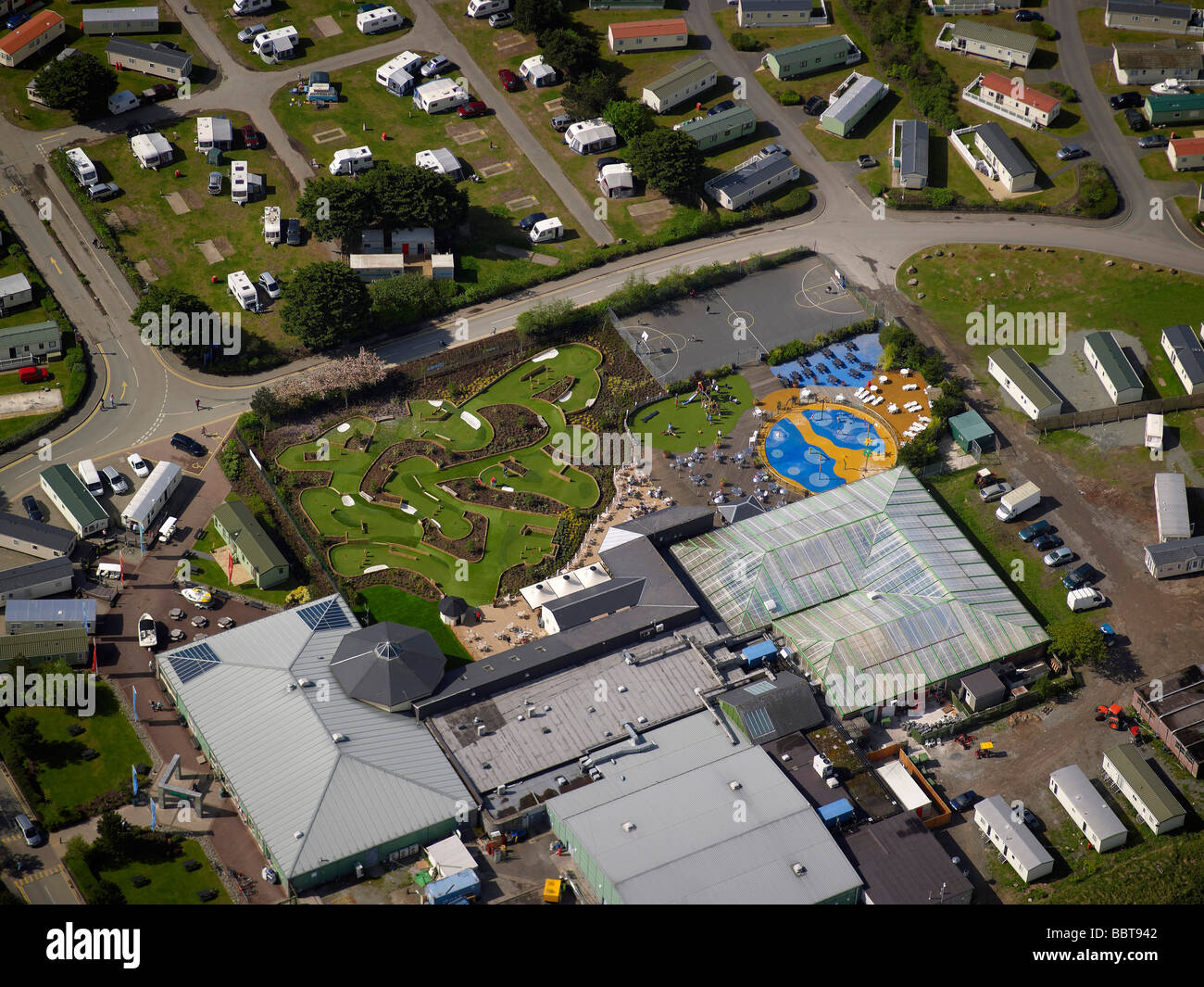 Holiday Park with crazy Golf, Porthmadoc, North Wales, UK - Stock Image