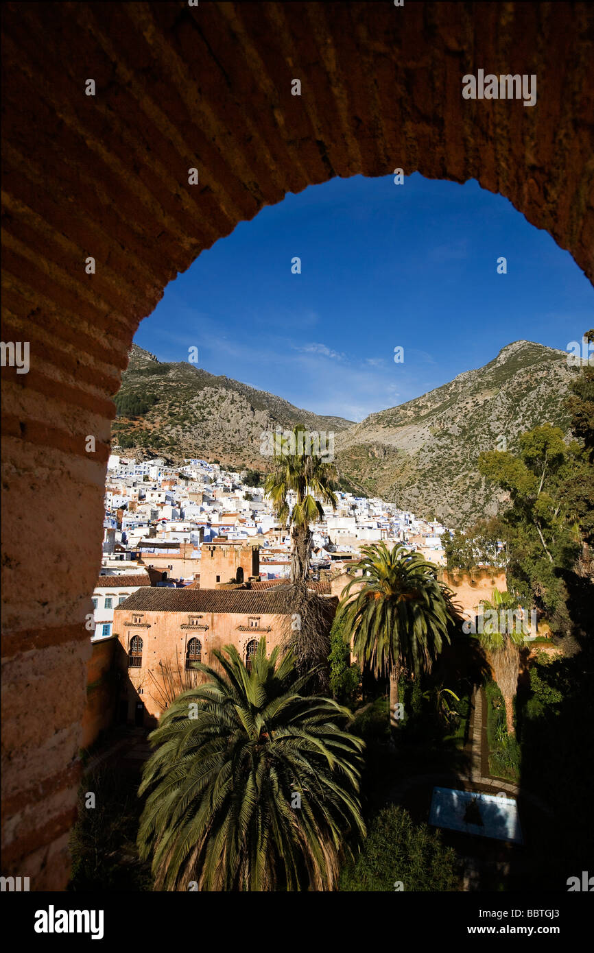 View of Kasbah and Chefchaouen, Morocco - Stock Image