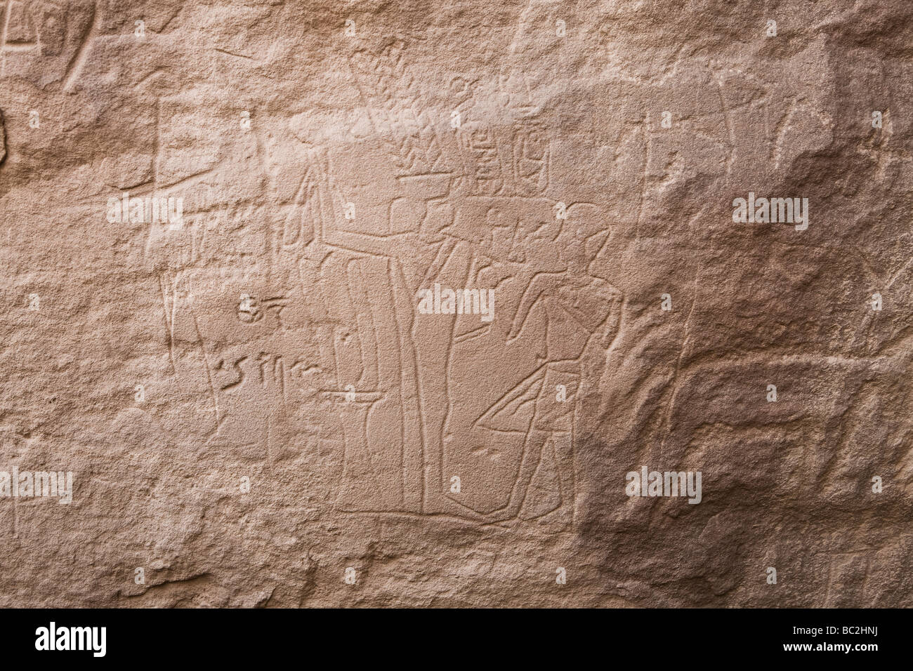 Rock-art in Wadi Mineh  showing Amenhotep1 before the God Min in the Eastern Desert of Egypt, North Africa - Stock Image
