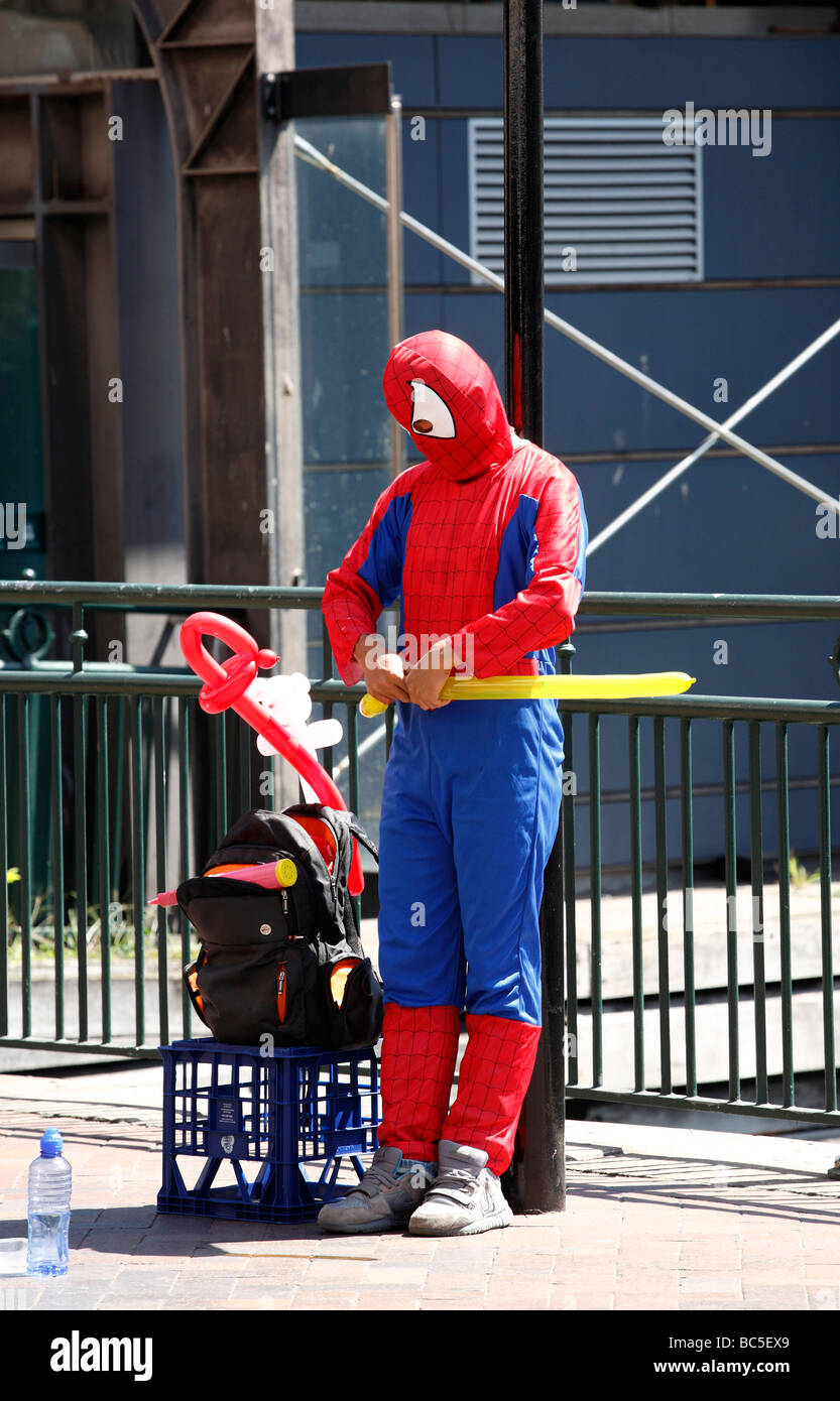 Spiderman with balloons Stock Photo