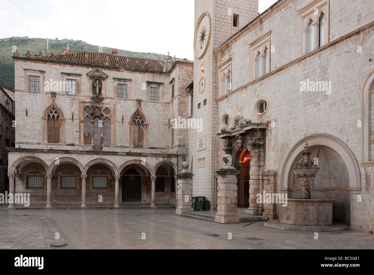 Sponza Palace and Square of the Loggia, Dubrovnik, Croatia - Stock Image