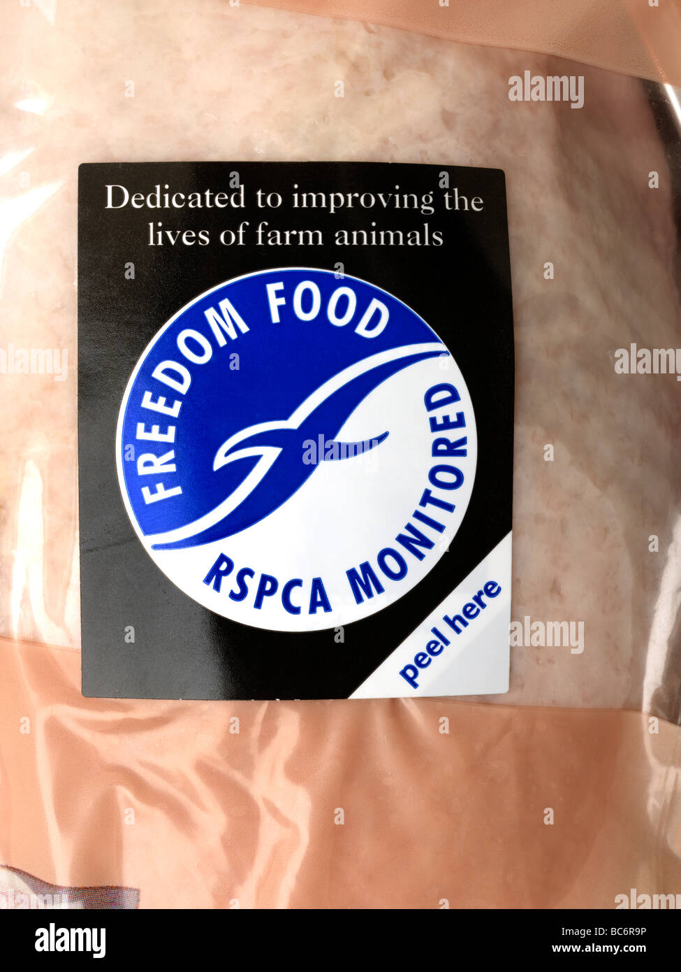 Freedom Food Label on a Chicken RSPCA Monitored - Stock Image