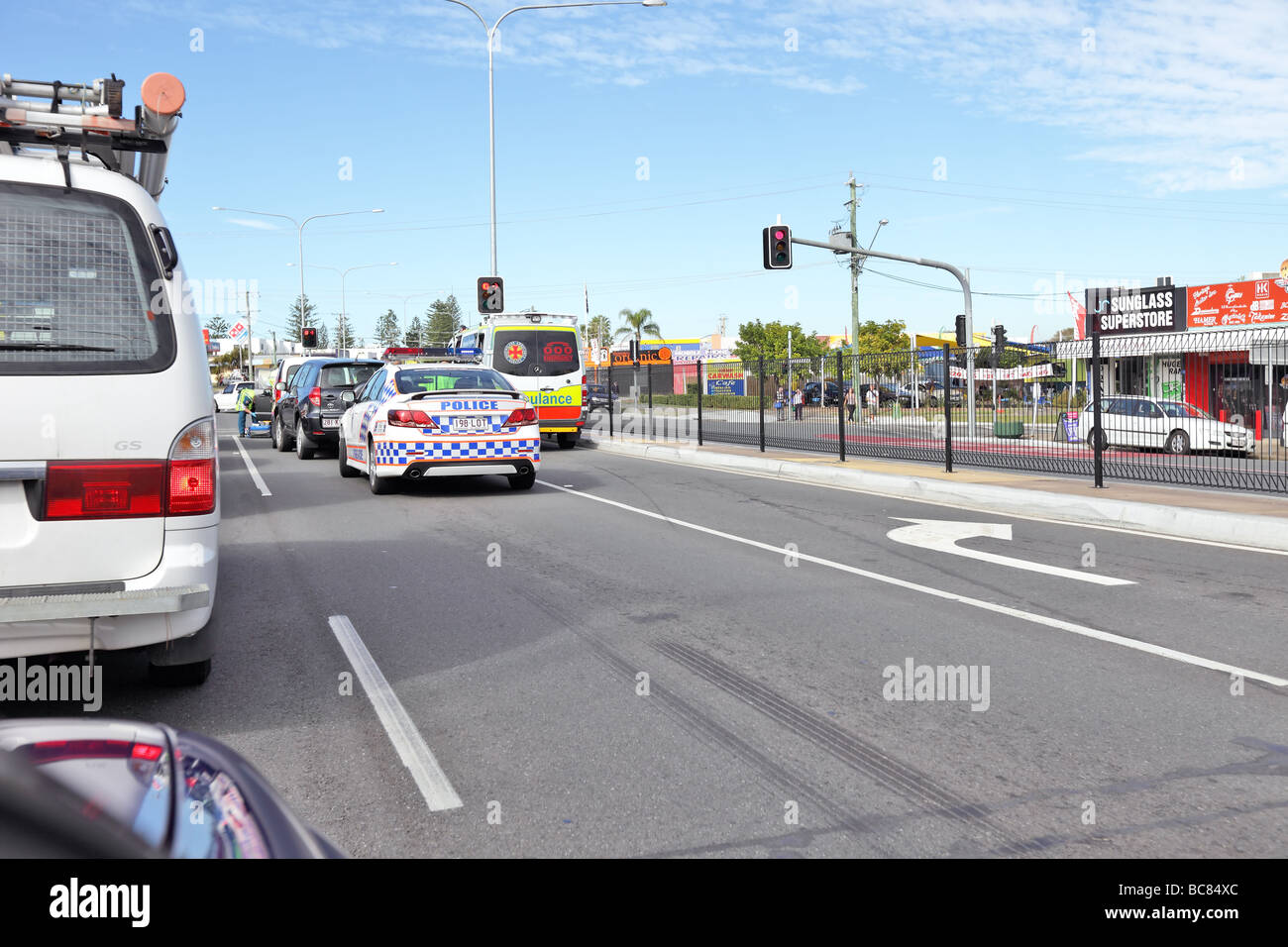 Road accident on highway requiring police and ambulance attendance - Stock Image