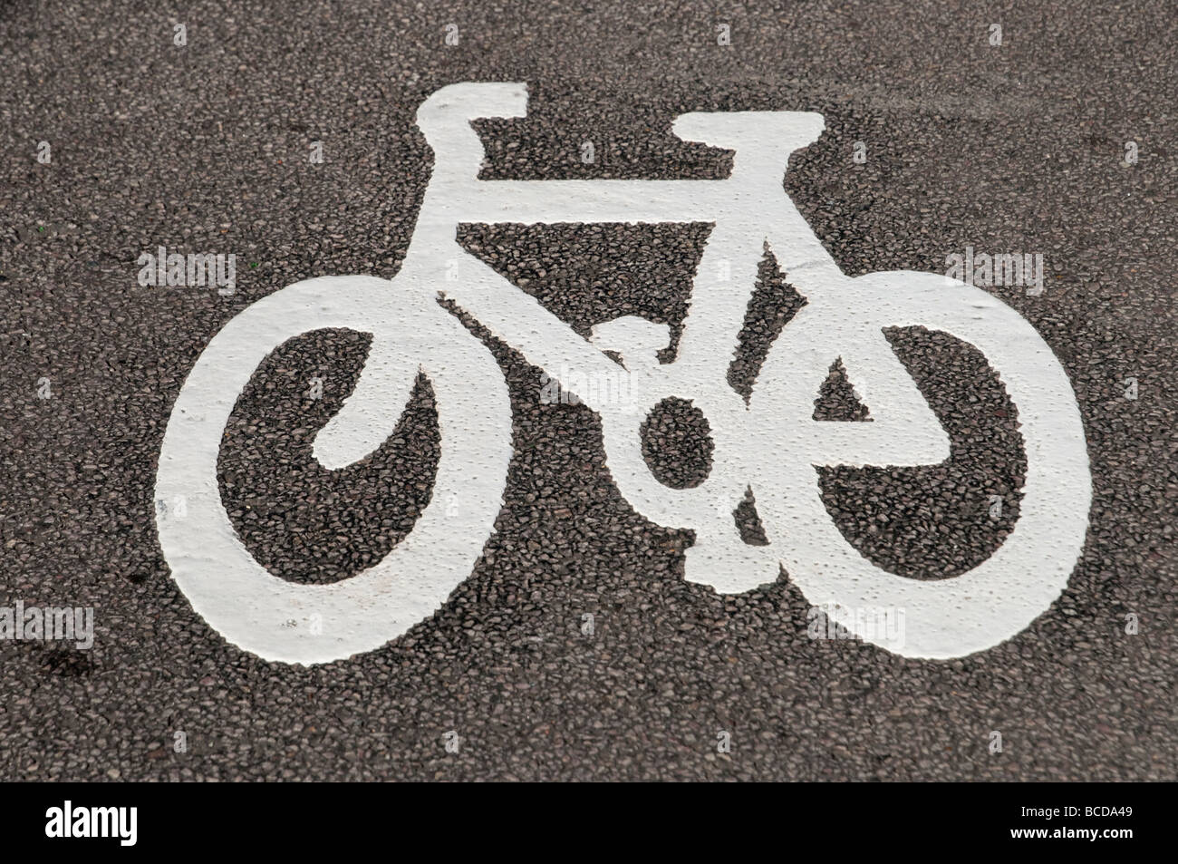 Cycle lane symbol road marking London England UK - Stock Image