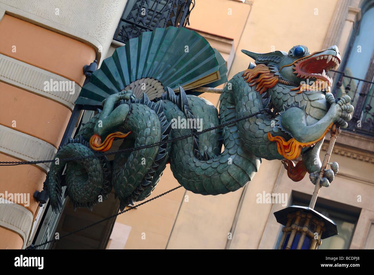 Dragon La Rambla Barcelona Catalunya Spain - Stock Image