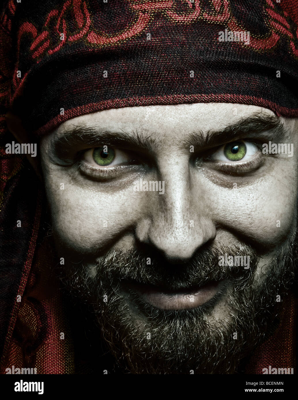 Close up portrait of funny bizzare spooky man - Stock Image