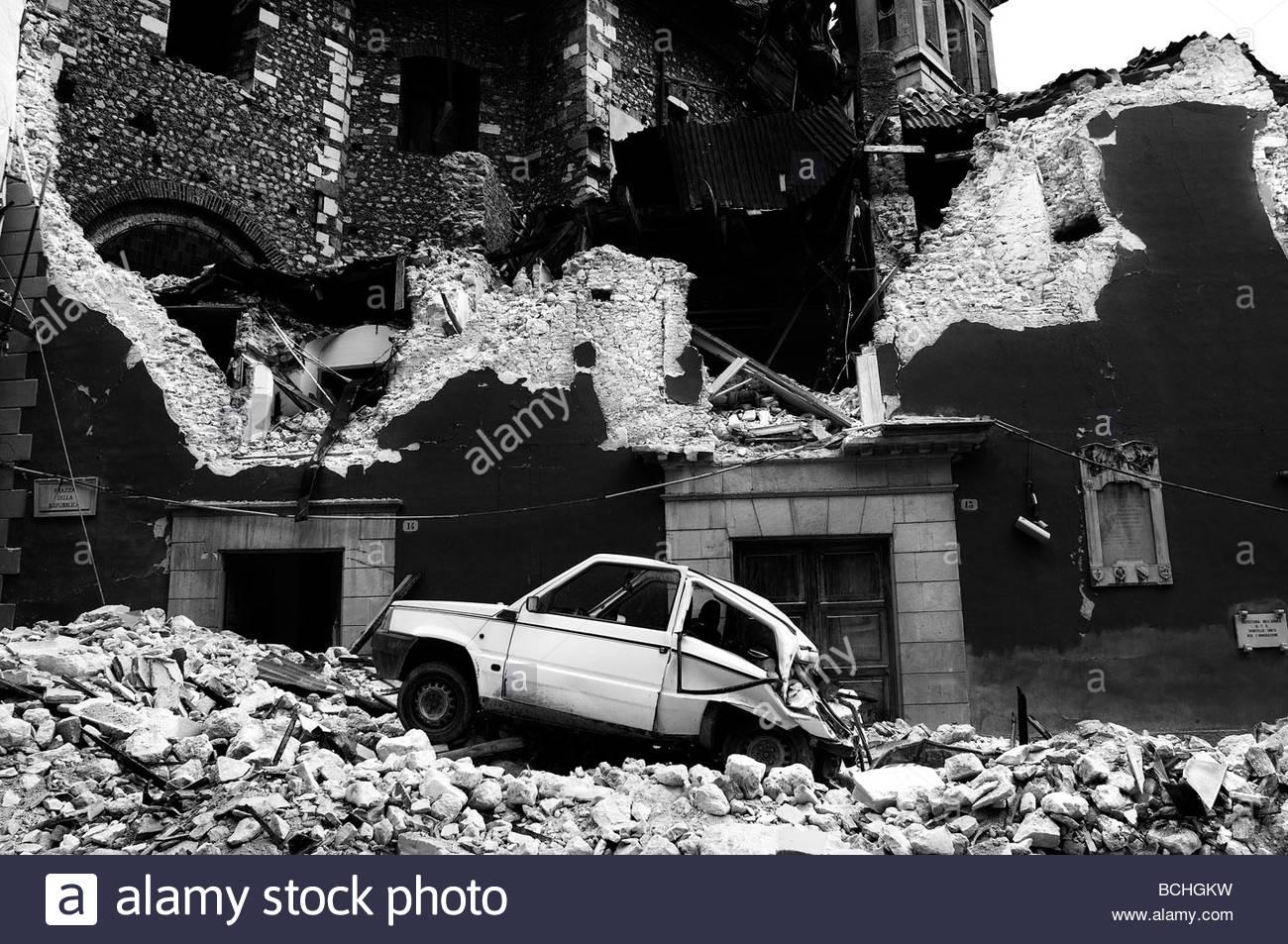 L'Aquila earthquake. Abruzzo. Italy - Stock Image
