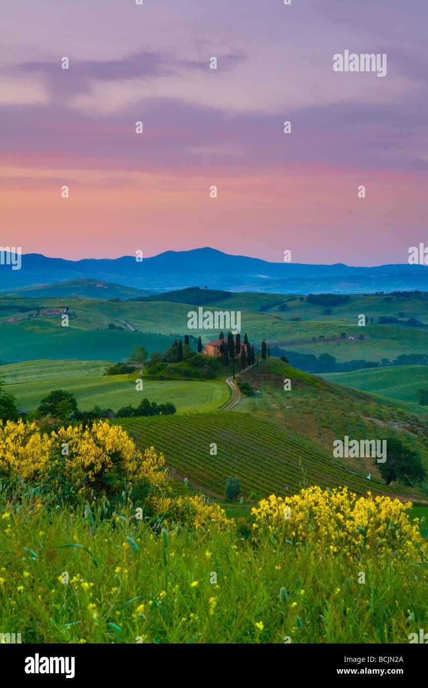 Farmhouse, Val d' Orcia, Tuscany, Italy, RF - Stock Image