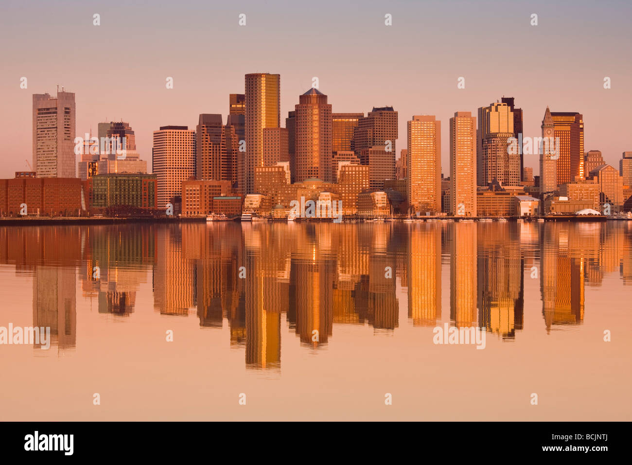 USA, Massachusetts, Boston, Financial District from Logan Airport, East Boston - Stock Image