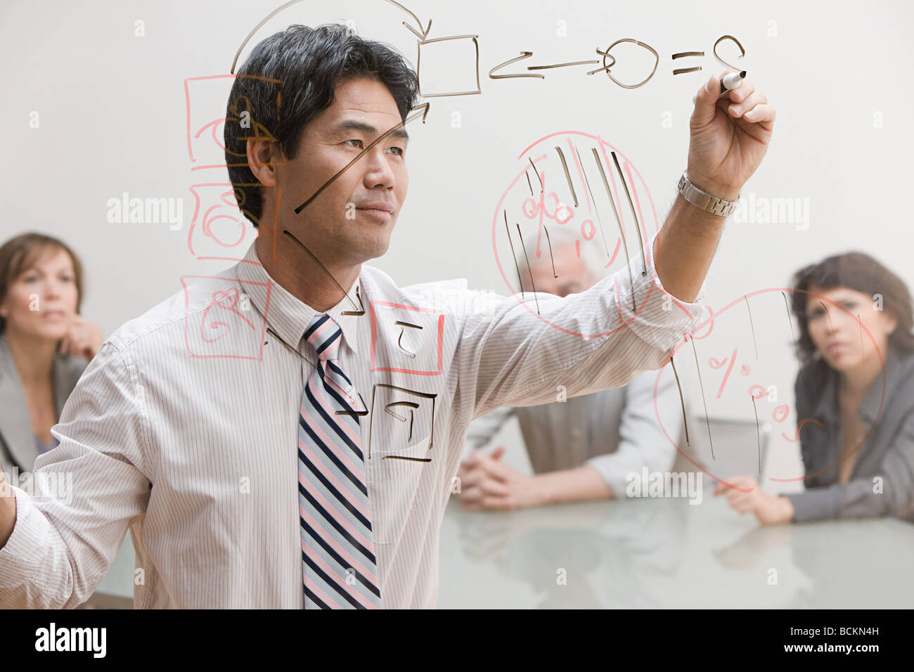 Man drawing diagram on glass - Stock Image