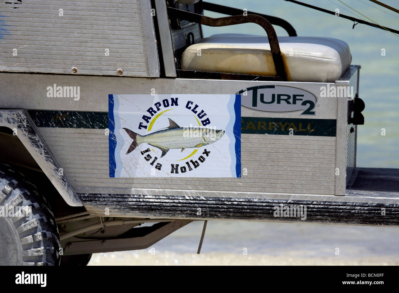 Tarpon Club vehicle Holbox Island Quintana Roo Yucatán Peninsula Mexico a unique Mexican destination - Stock Image