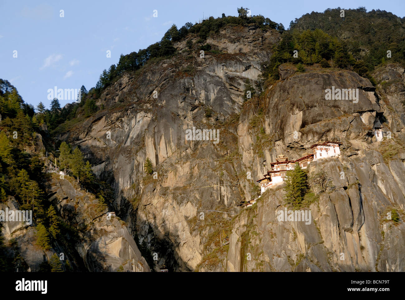 Paro Taktsang Goemba, monastery, know as the  Tigers Nest is perched precariously half way up a mountain side cliff. Stock Photo