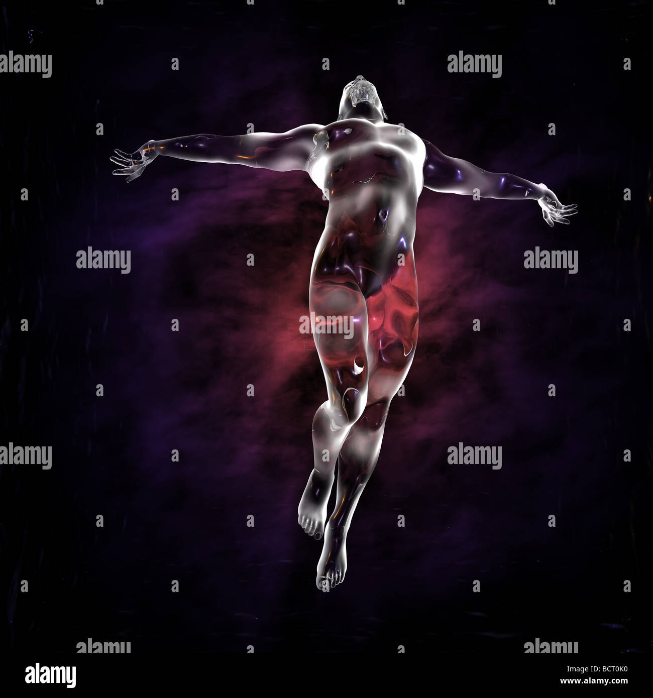 A glass man rises in ascension with an ethereal lights background. Image has many religious implications and sci - Stock Image