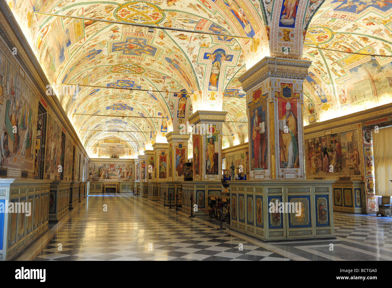 Europe vatican city Vatican Museum interior of the Vatican Library Stock Photo