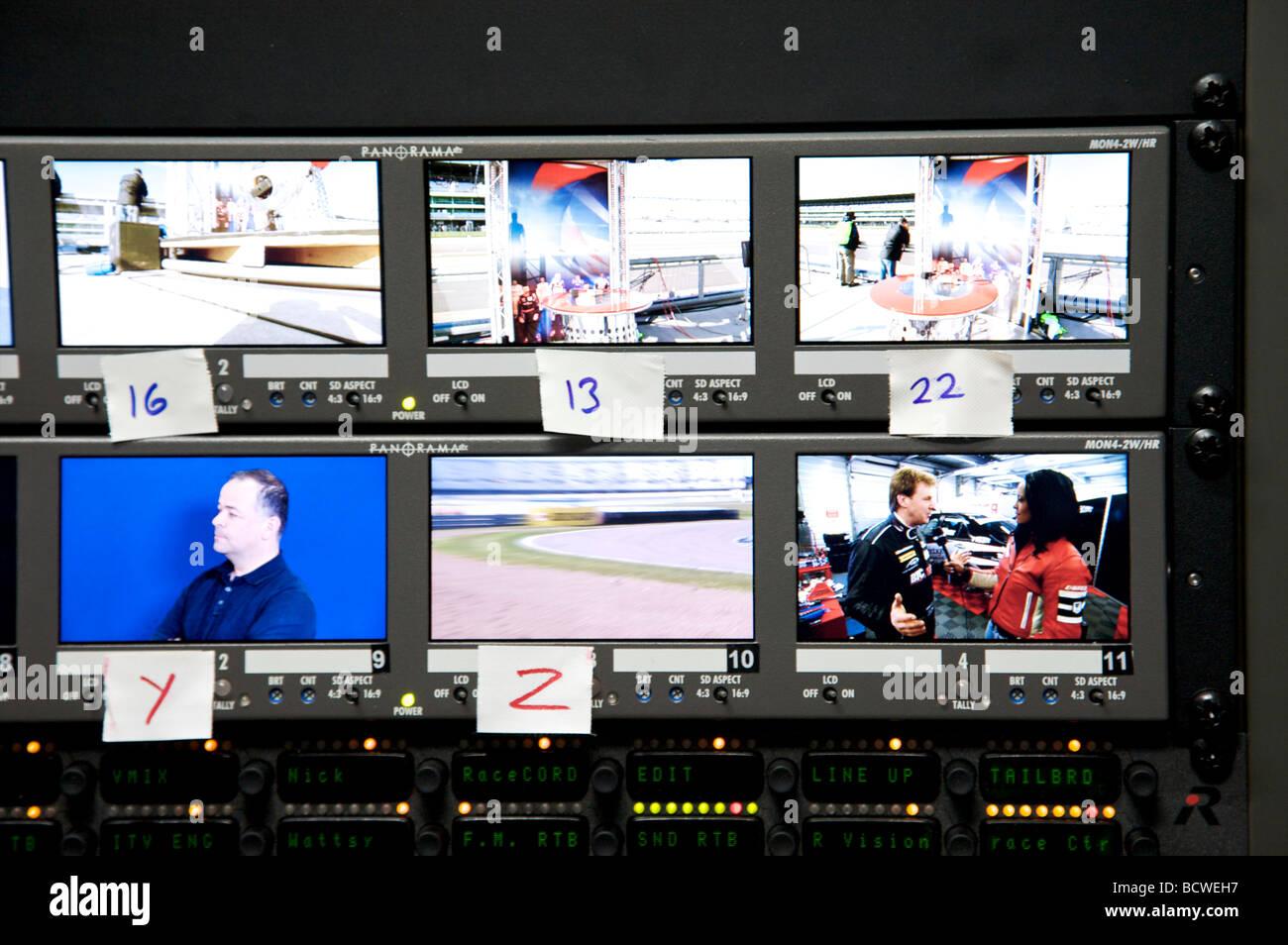 Screens on video editing equipment - Stock Image