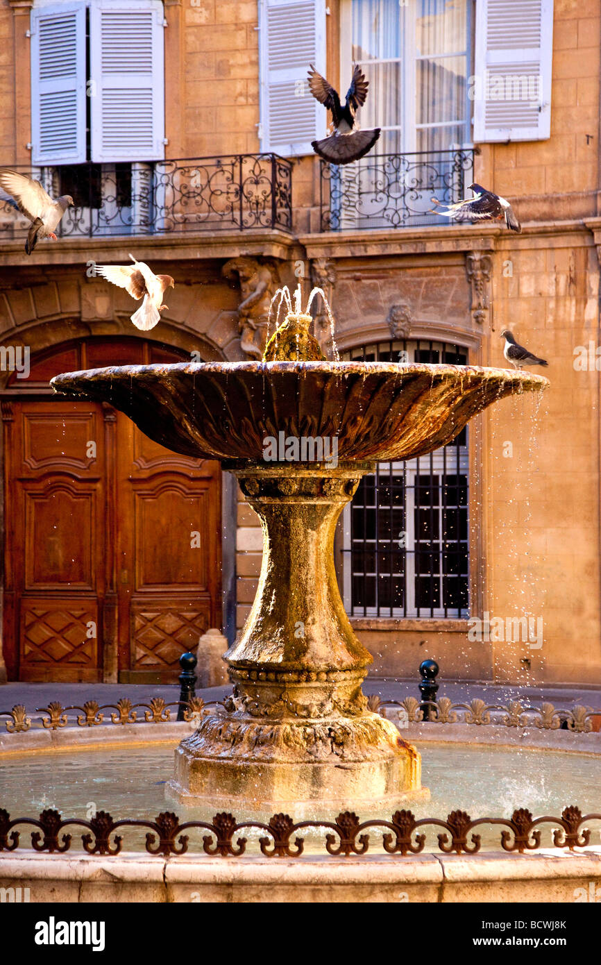 Place d' Albertas Fountain Aix en-Provence France - Stock Image