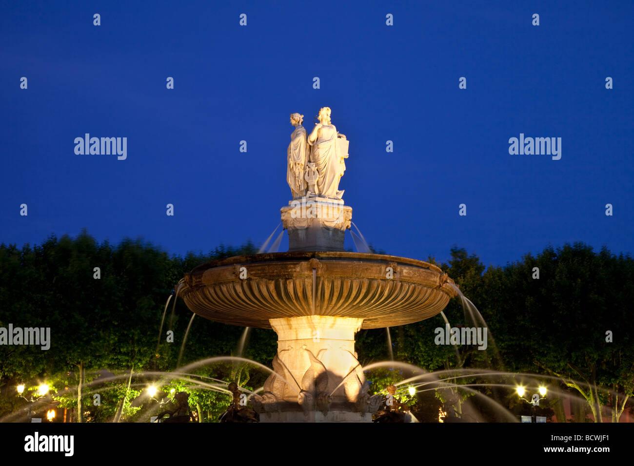 La Rotonde Fountain in Aix en-Provence, France - Stock Image