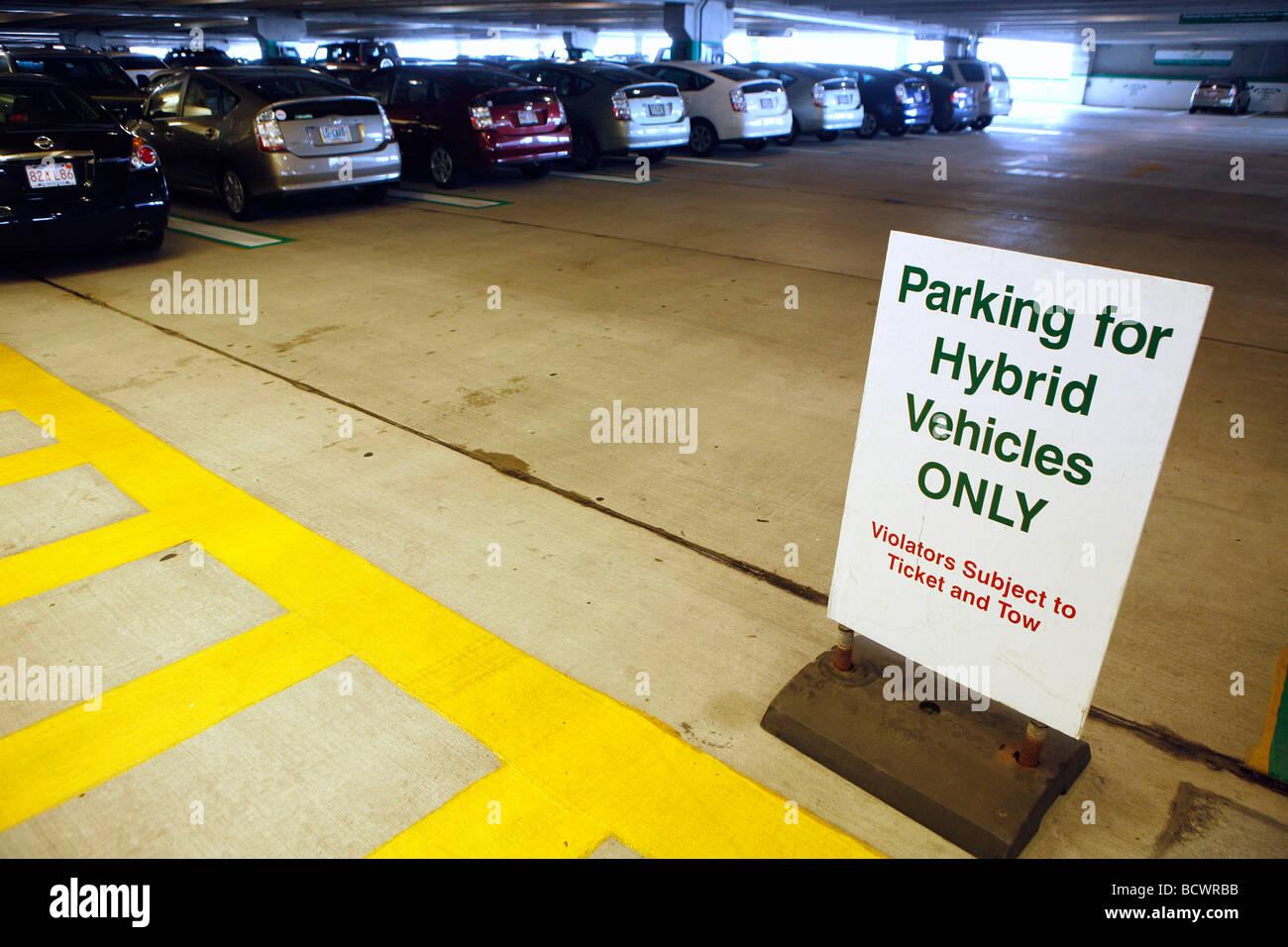 Privileged garage parking for hybrid cars, Boston - Stock Image