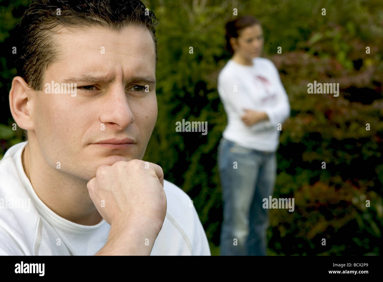 Marriage difficulties female and male stubborn face - Stock Image