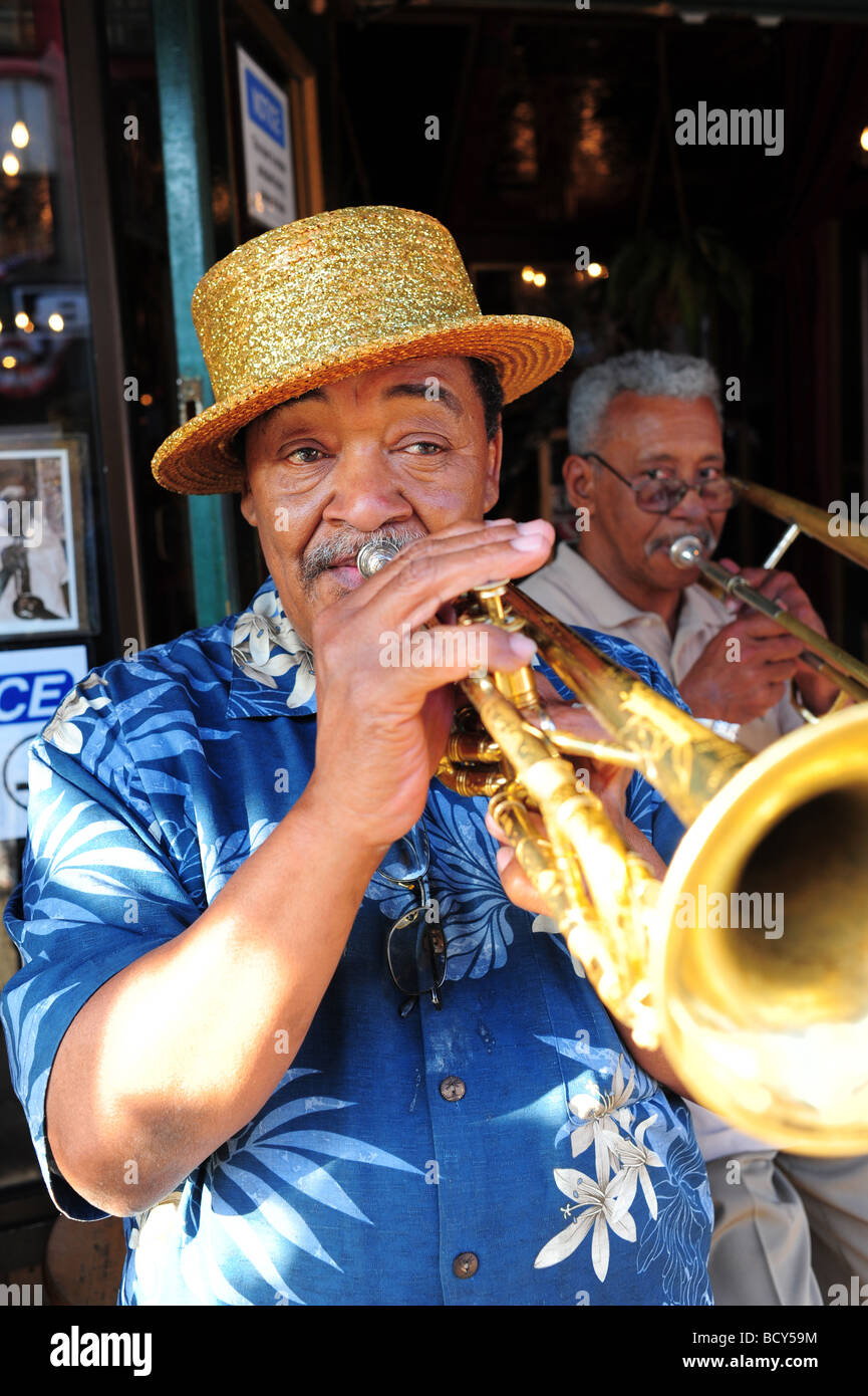 Tennessee Memphis Beale Street street performer playing the trumpet Stock Photo