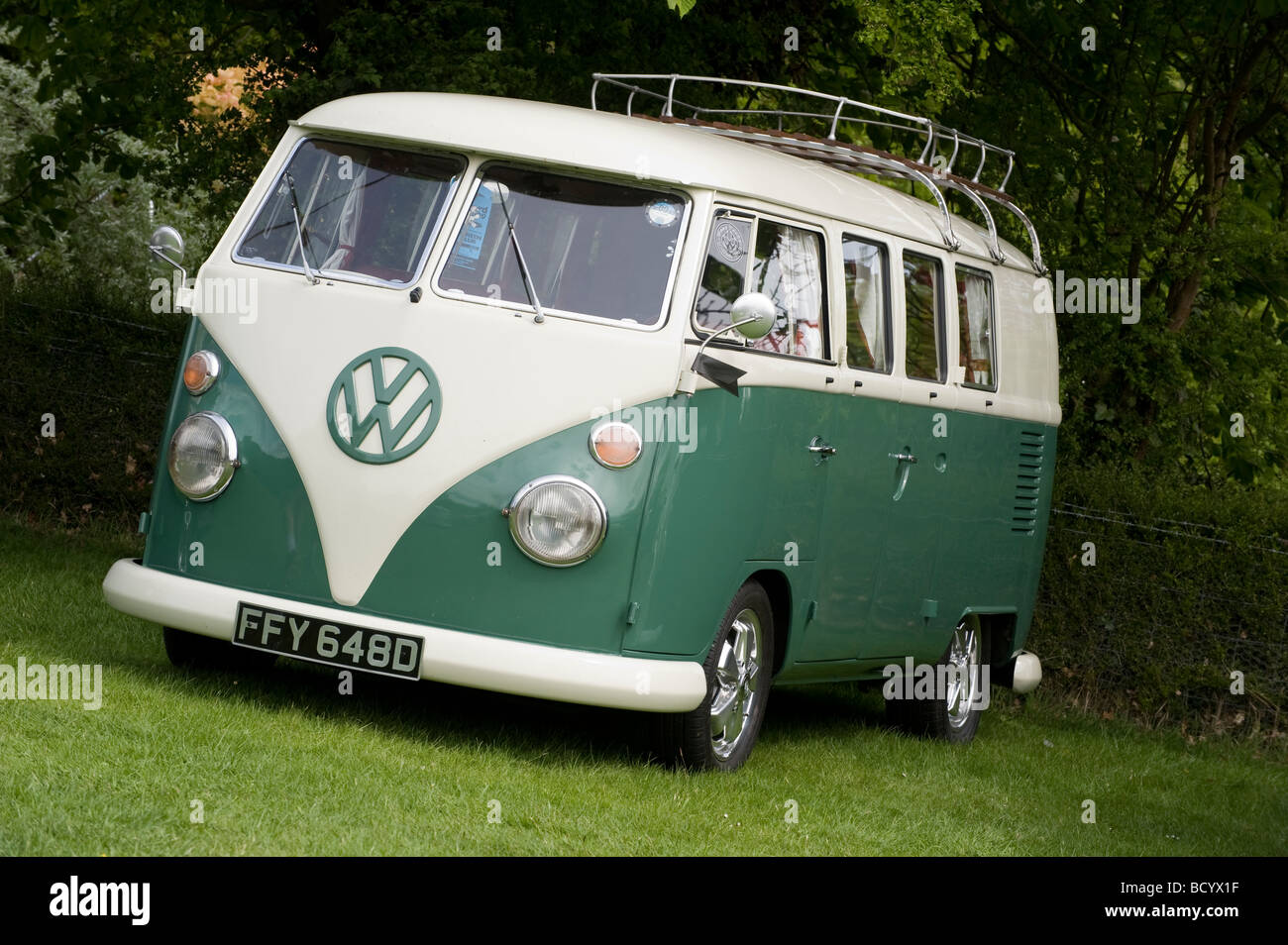 White And Green Volkswagen Split Screen Camper Van
