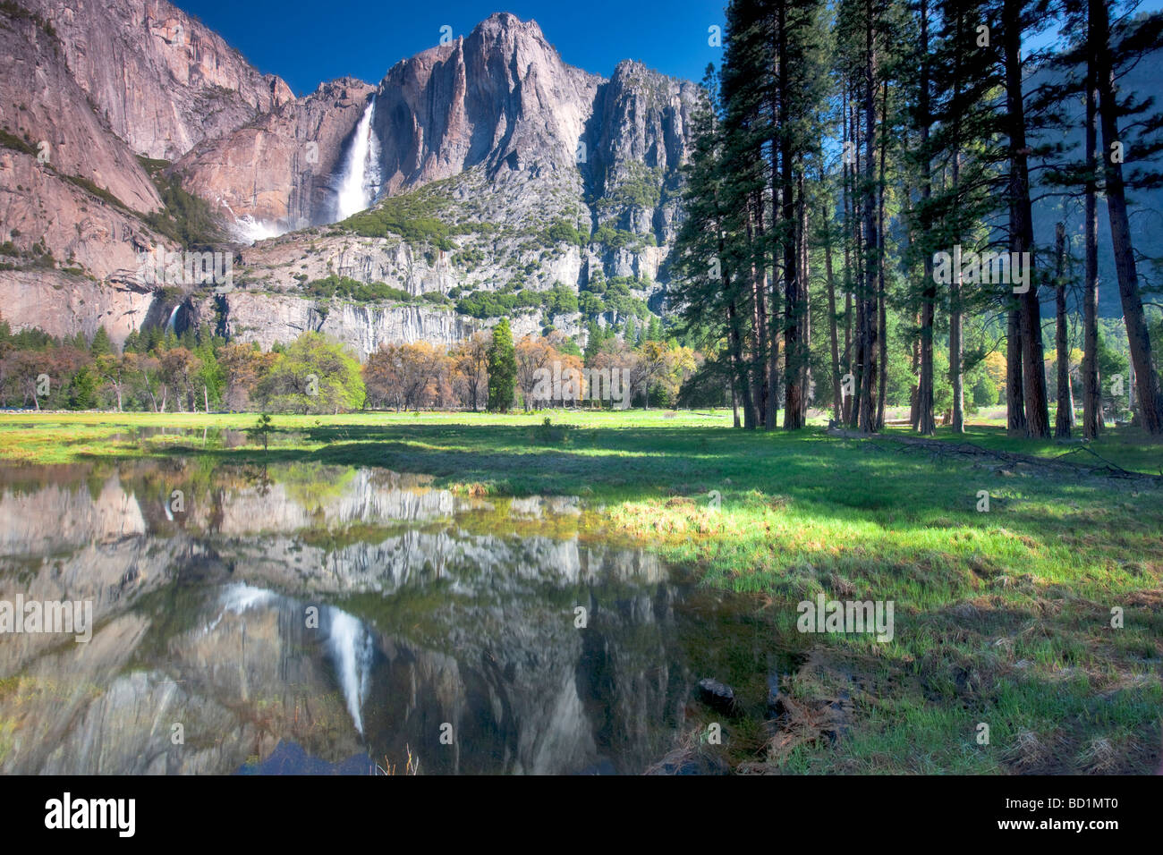 Yosemite Falls reflected in pool of water Yosemite National Park California - Stock Image