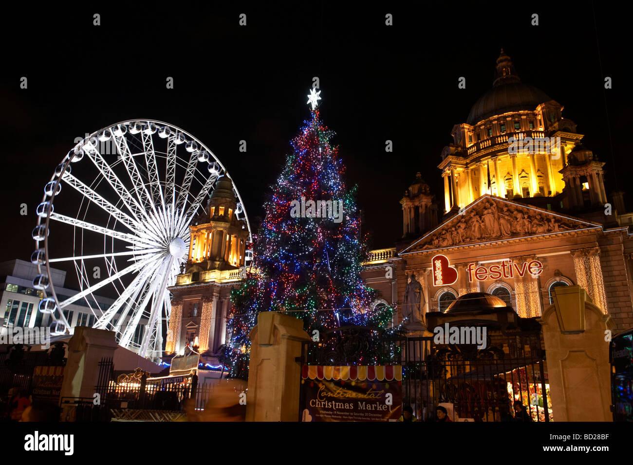Christmas tree and christmas lights at Belfast City Hall Northern Ireland - archive image Stock Photo