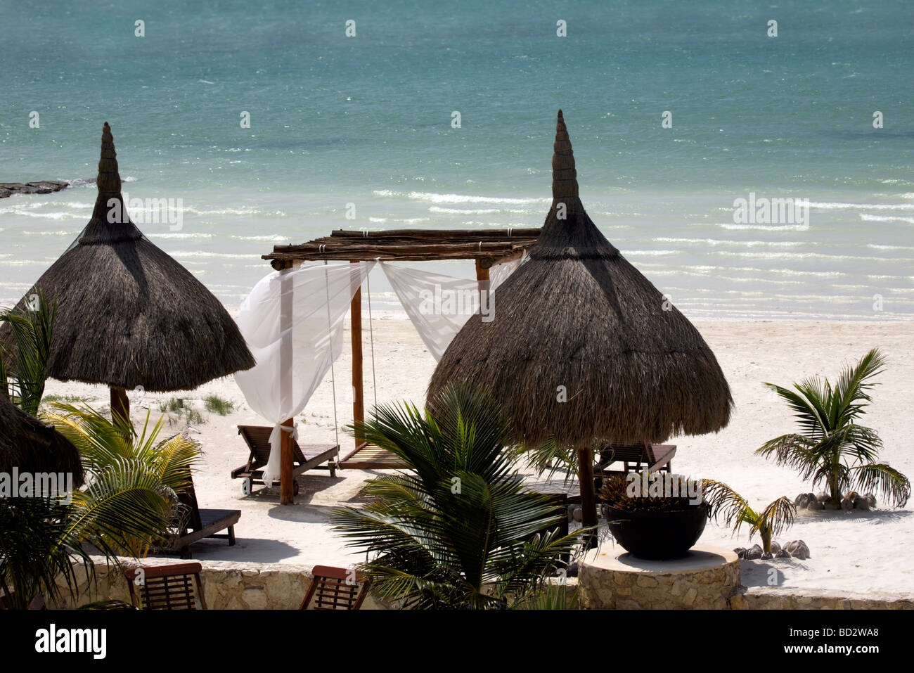 Parasols on the beach, Holbox Island, Quintana Roo, Yucatán Peninsula, Mexico, a unique Mexican destination - Stock Image
