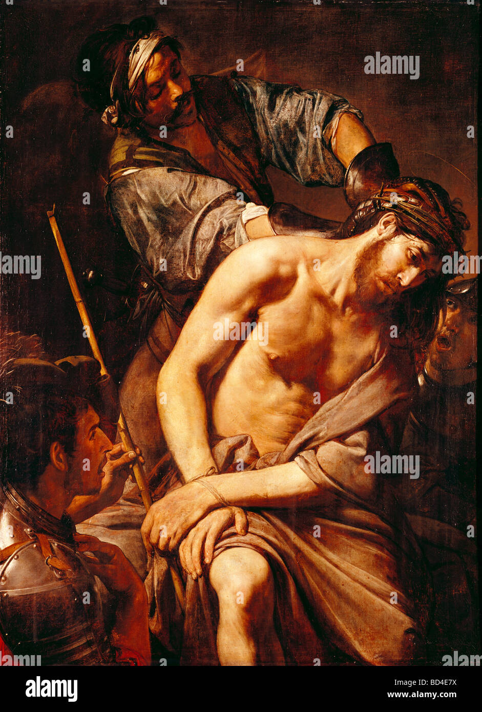 fine arts, (Jean) Valentin de Boulogne (1591 - 1632), painting 'The Crowning with Thorns', 1570, oil on - Stock Image