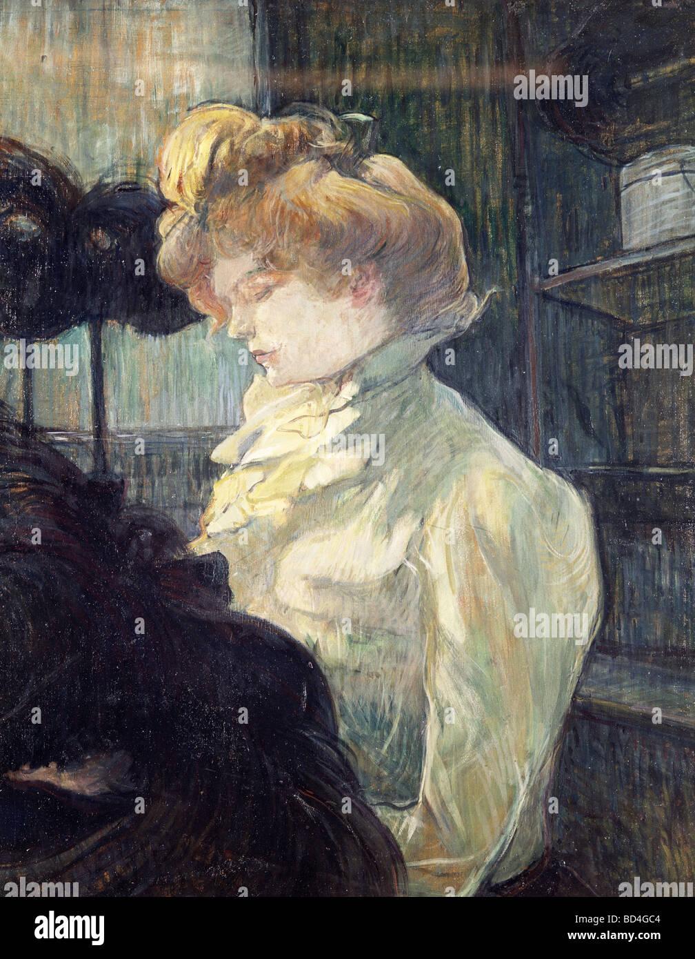 """fine arts, Toulouse-Lautrec, Henri de (1864 - 1901), painting, """"La Modiste"""", 1900, Museum Albi, Europe, France, Stock Photo"""