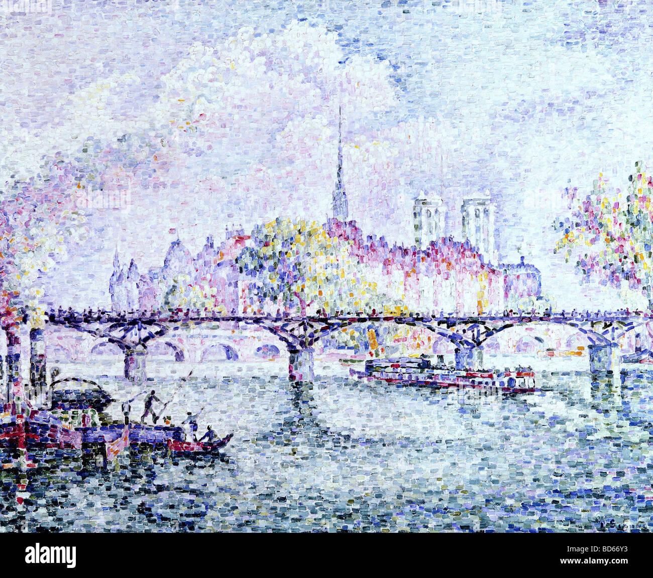 """fine arts, Signac, Paul, (1863 - 1935), painting, """"Paris, Ile de la Cite"""", 1912, oil on canvas, Museum Folkwang, Stock Photo"""