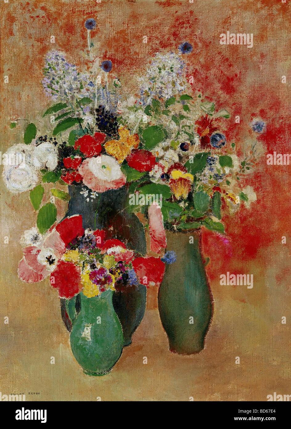 """fine arts, Redon, Odilon, (22.4.1840 - 6.7.1916), painting, """"flowers still life"""", Von der Heydt-Museum, Wuppertal, Stock Photo"""