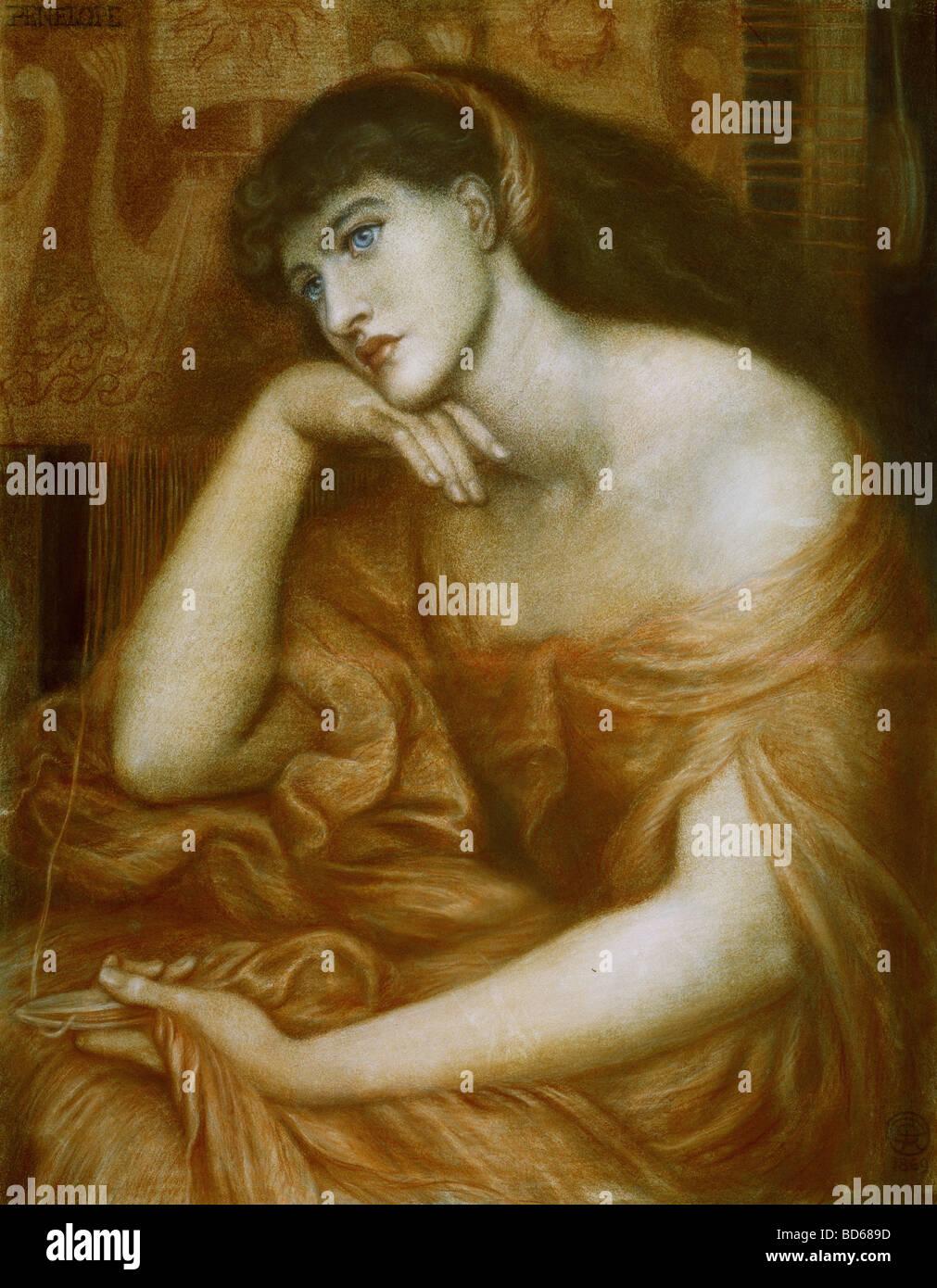 "fine arts, Rossetti, Dante Gabriel (1828 - 1882), painting, ""Penelope"", oil on canvas, 1869, symbolism, preraffaelites, Stock Photo"