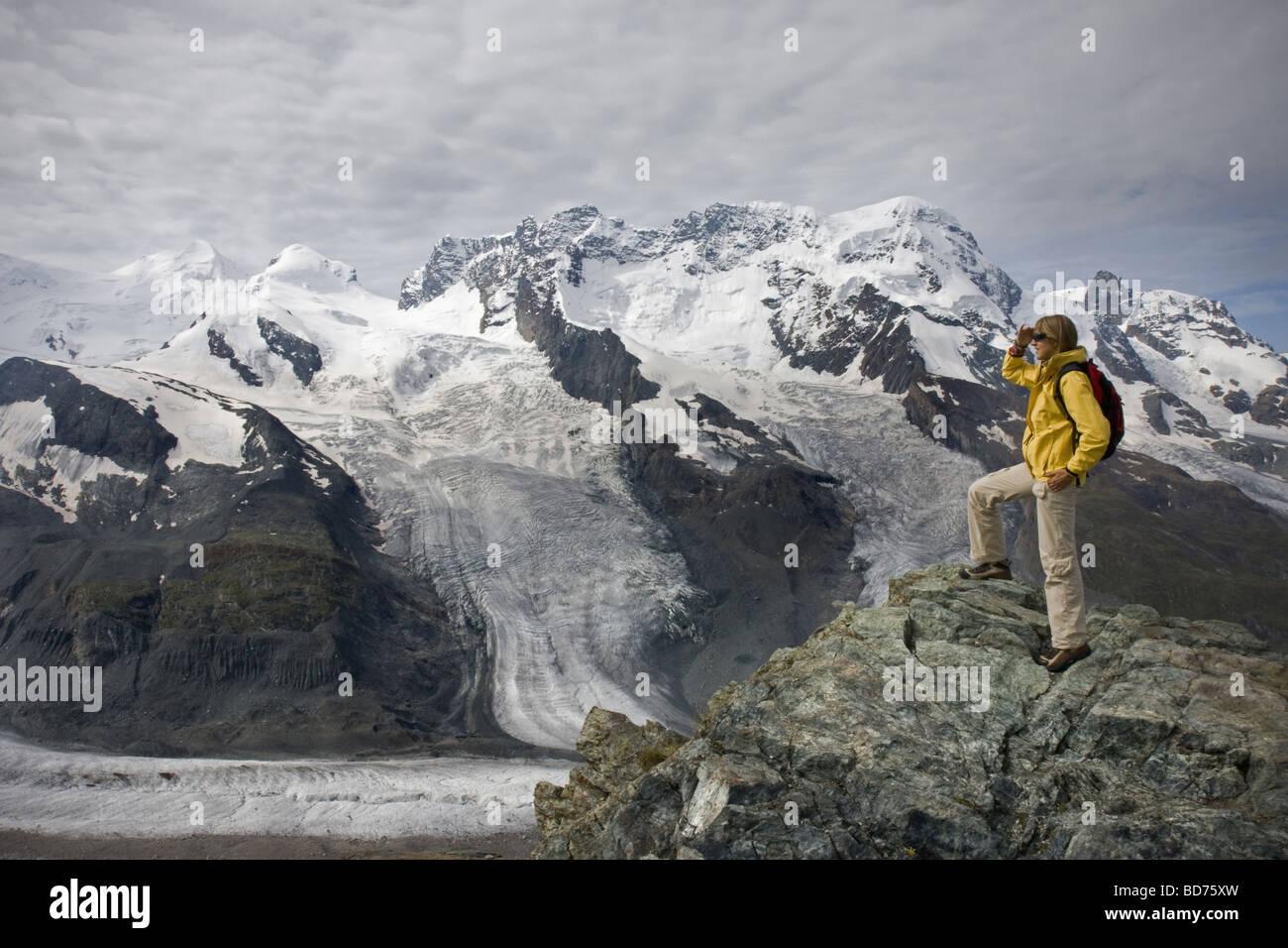 Young woman in Gornetgrat glacier Switzerland - Stock Image
