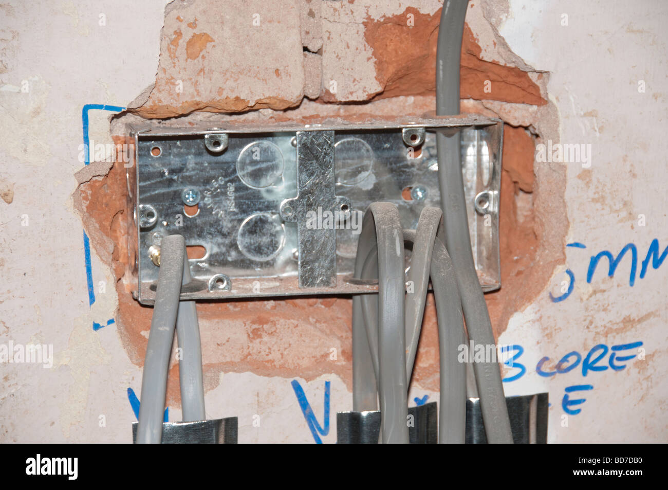 New electrical wiring in a house renovation Stock Photo: 25365060 ...