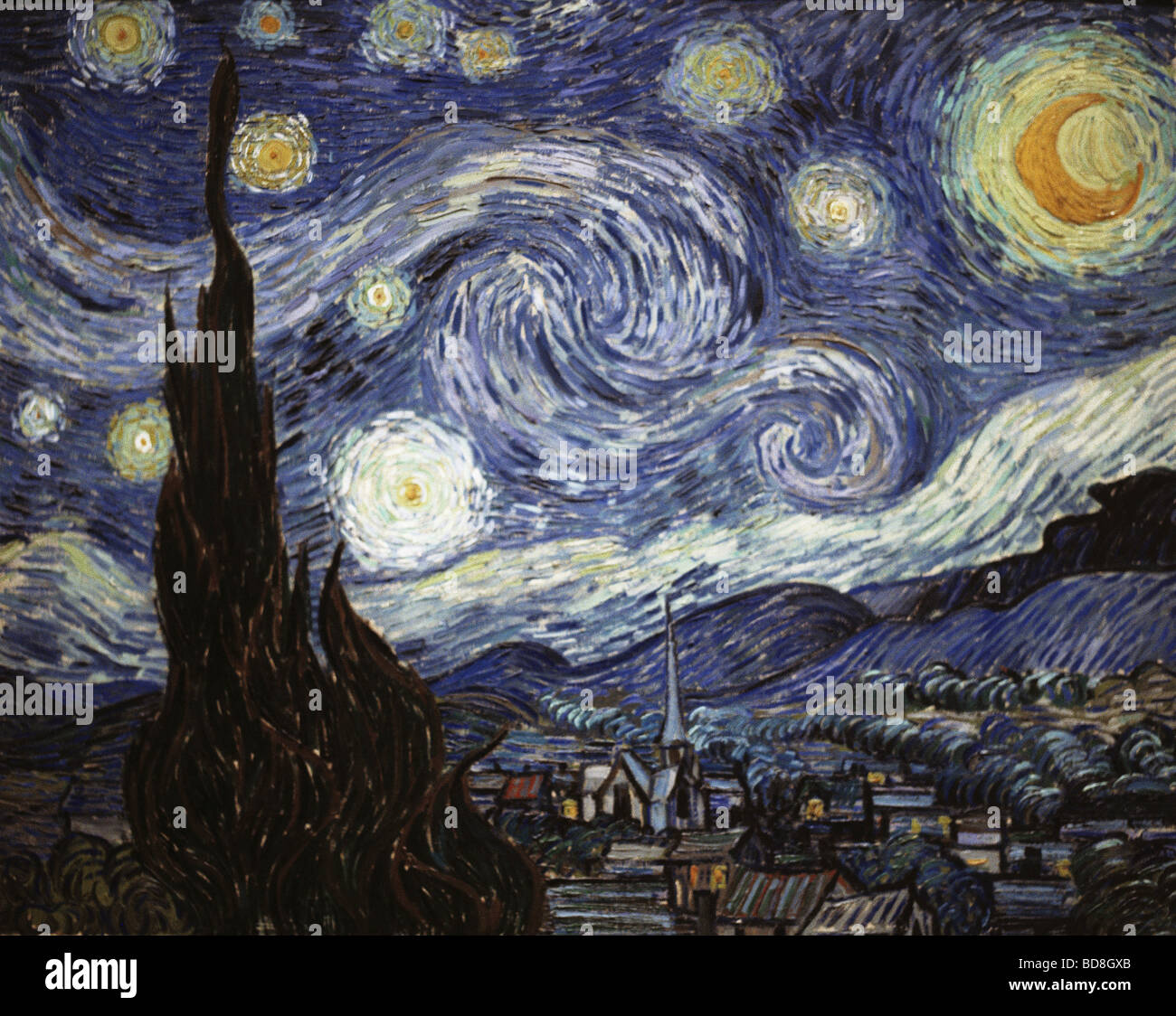 """fine arts, Gogh, Vincent van, (1853 - 1890), painting, """"The Starry Night"""", oil on canvas, 73 x 92 cm, 1889, National Stock Photo"""