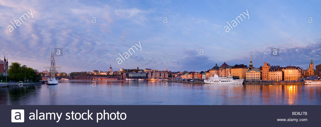 Panoramic view of the schooner Af Chapman, and the old town of Stockholm, Sweden. - Stock Image